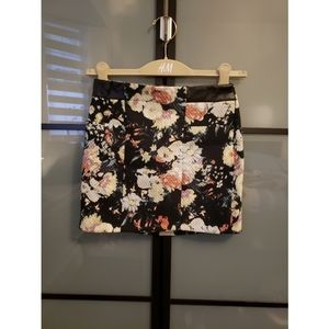 Mango floral faux leather mini skirt
